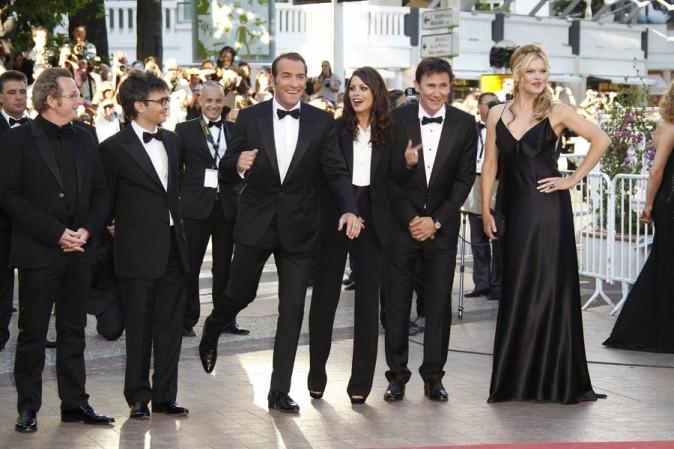 Avec l'équipe du film et son chéri, à sa gauche !