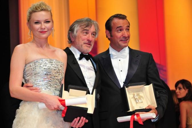 Le président du Jury, Robert de Niro avec les deux meilleurs interprètes !