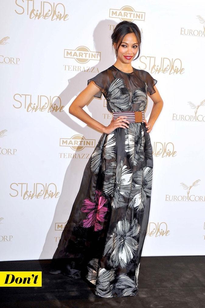 Festival de Cannes 2011 : la robe longue ceinturée de Zoe Saldana