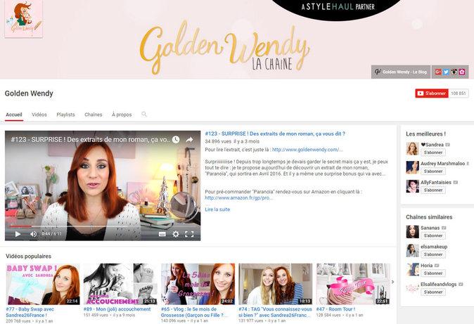 Chaine YouTube Golden Wendy