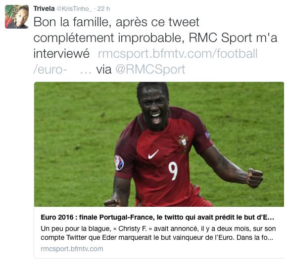 Public Buzz : Photos : Un internaute avait prédit le but d'Eder et la victoire du Portugal… depuis 2 mois !