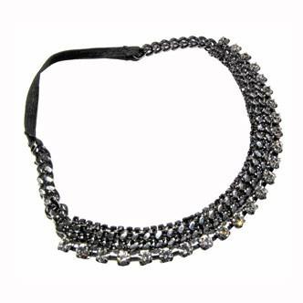 Accessoires cheveux été 2011 : le bandeau en chaîne, strass et élastique noir !
