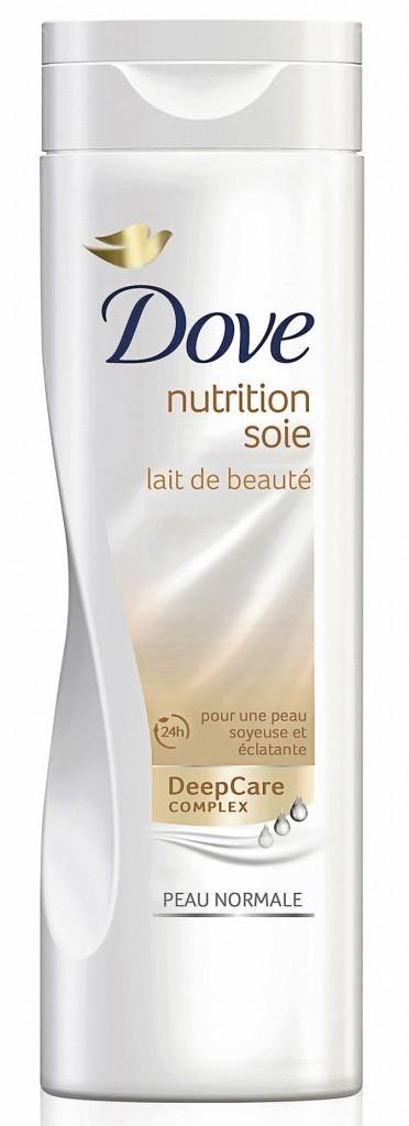 Lait de beauté, nutrition soie, Dove. 4,90 €.
