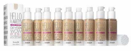 Fond de teint fluide, Hello Flawless Oxygen Wow, Benefit. 34 € chez Sephora à partir de mars.