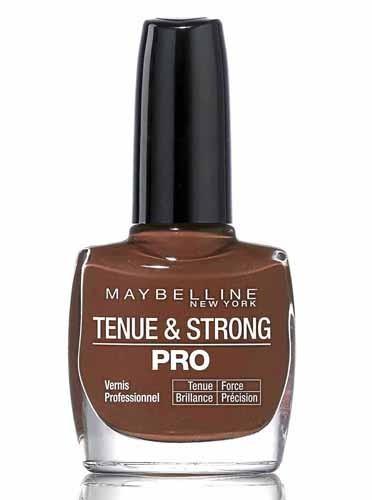 les deux vernis. Brun Brique, Tenue & Strong Pro, Gemey-Maybelline. 8,50 €.