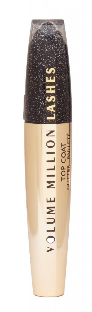 Pour un teint Chic : Mascara, Volume Million de Cils, Top Coat pailleté, L'Oréal, 15 €