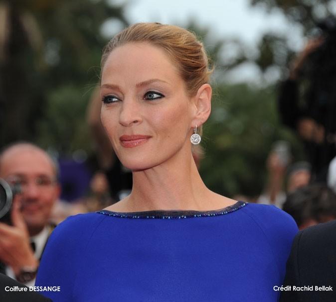 Maquillage de star au Festival de Cannes 2011 : le khôl noir sur les yeux d'Uma Thurman