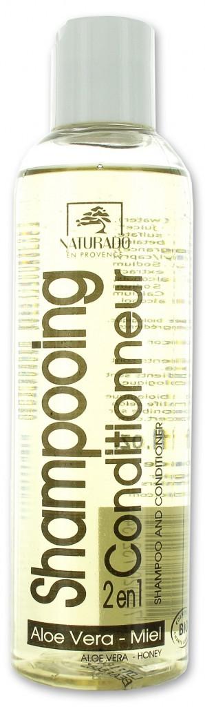 Des cheveux au vert : Shampooing conditionneur 2 en 1 à l'aloe vera et au miel, Naturado en Provence 9,40€