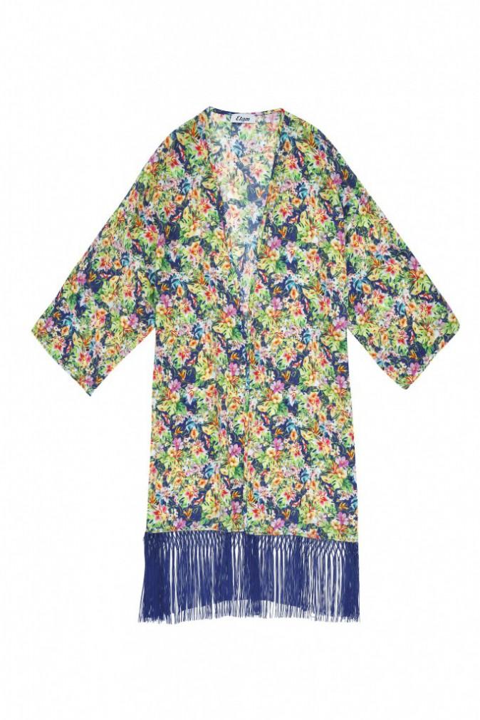 Kimono à franges imprimé savane,Etam, 34,90 €