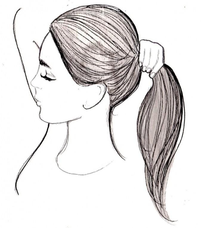 Empoignez la chevelure en queue-de- cheval basse et attachez-la avec un élastique.
