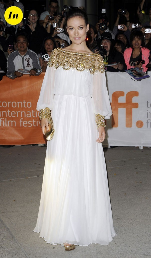 Festival du film de Toronto 2011 : la robe longue blanche et or d'Olivia Wilde !