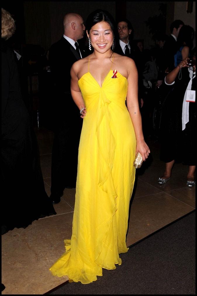 Les stars de Glee en mode glamour : la robe longue jaune de Jenna Ushkowitz