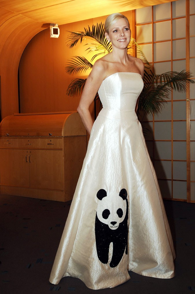 Charlene Wittstock :  une robe longue satinée bustier en avril 2008
