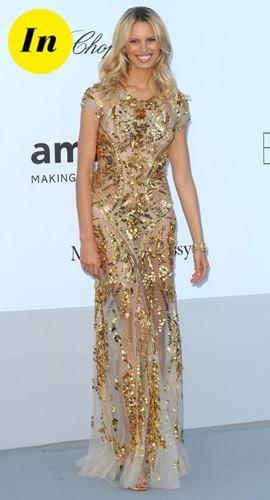 Très belle robe Roberto Cavalli pour la gala de l'Amfar à Cannes