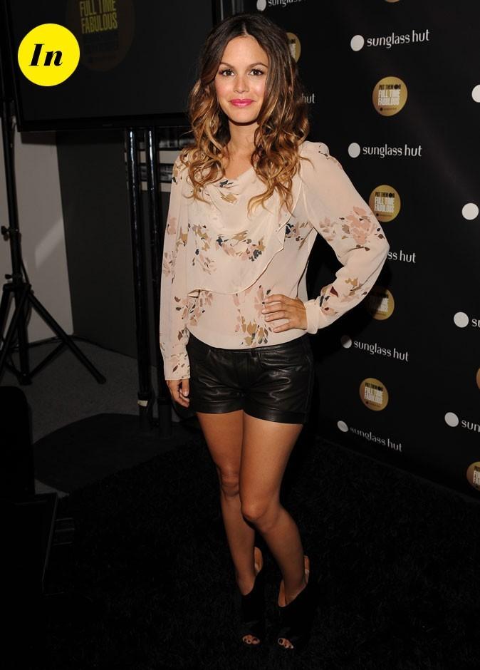 La blouse romantique et le short en cuir de Rachel Bilson en Septembre 2010 !