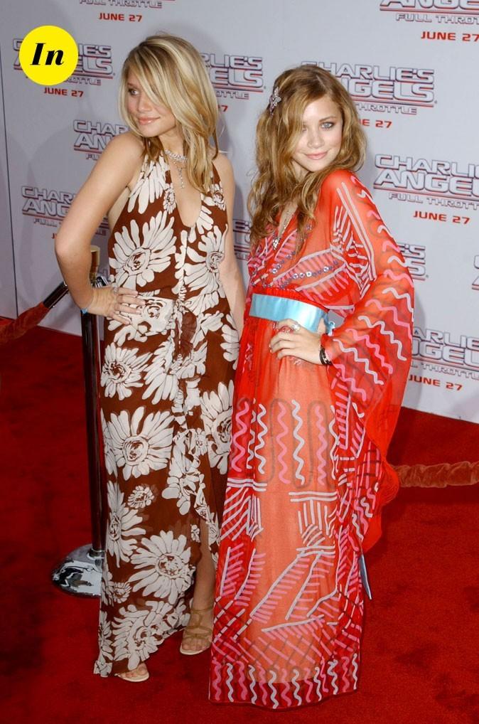 Les robes longues tendance hippie des jumelles Olsen en Juillet 2003 !