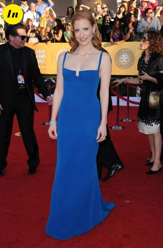 Jessica Chastain charmante dans sa robe bleue Calvin Klein