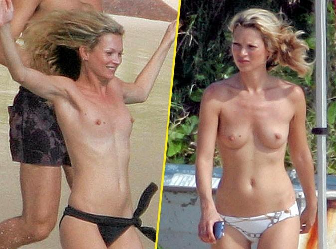 Stars à la plage : Kate Moss enlève toujours le haut !