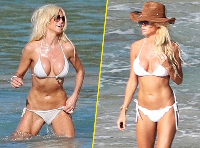 Stars à la plage : Victoria Silvstedt porte toujours le même maillot de bain blanc