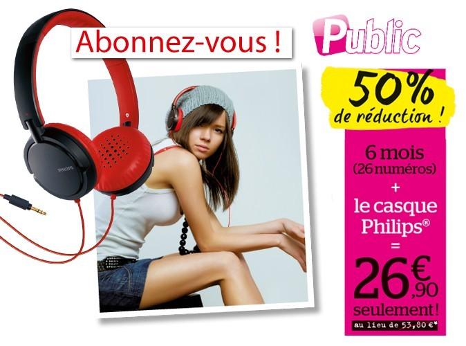 bon plan 50 de r duction sur l 39 abonnement au magazine public avec le casque philips. Black Bedroom Furniture Sets. Home Design Ideas