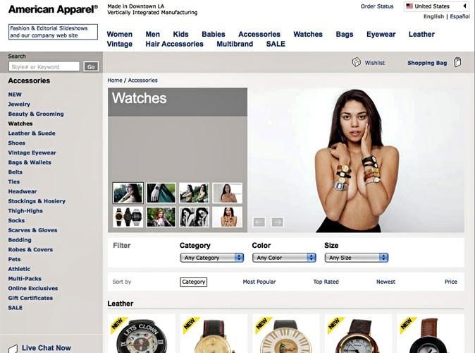 Bon plan : des montres extravagantes sur le site d'American Apparel !