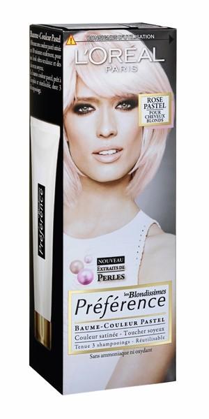 """La coloration """"Les Blondissimes préférence"""" Baume-couleur, Rose Pastel, L'Oréal 12 €"""