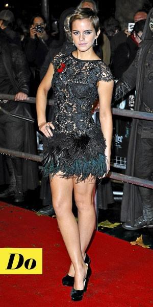 Look de star : la robe en dentelle noire d'Emma Watson