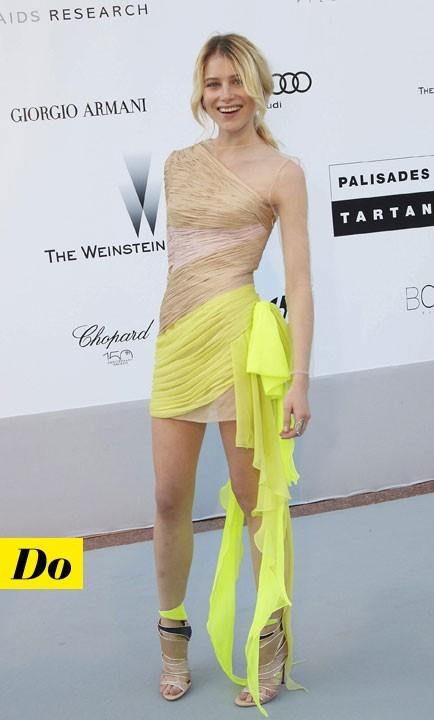 Mode d'emploi du look fluo : la robe jaune fluo de Dree Hemingway