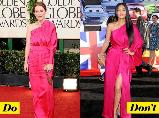 Look de star été 2011 : la robe asymétrique en satin fuchsia