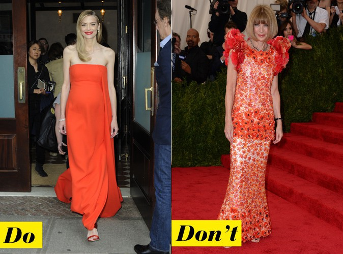 La robe de soirée orange - Do : Jaime King / Don't : Anna Wintour