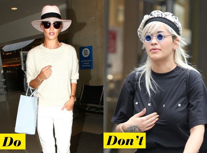 Le chapeau pastel - Do : Rosie Huntington-Whiteley / Don't : Rita Ora