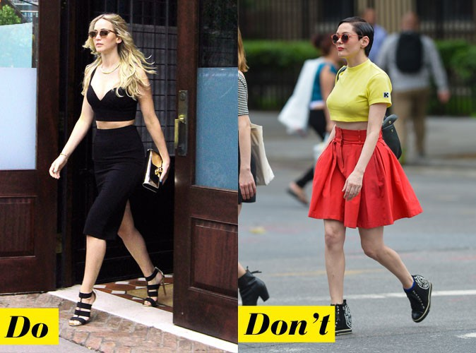 Le crop top + jupe - Do : Jennifer Lawrence / Don't : Rose McGowan