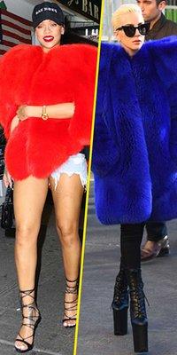Mode : Rihanna VS Lady Gaga : qui porte le mieux la fourrure Saint Laurent ?