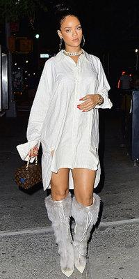 Rihanna : Chemise oversize, cuissardes fourrées et malle tendance, la Bad Girl est dans le game !
