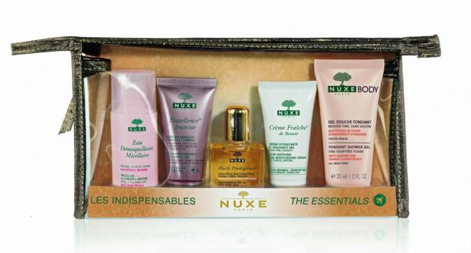 Indispensable Nuxe 1 eau micellaire, 1 nuxellence jeunesse, 1 huile prodigieuse, 1 crème et 1 gel douche, Nuxe 12€