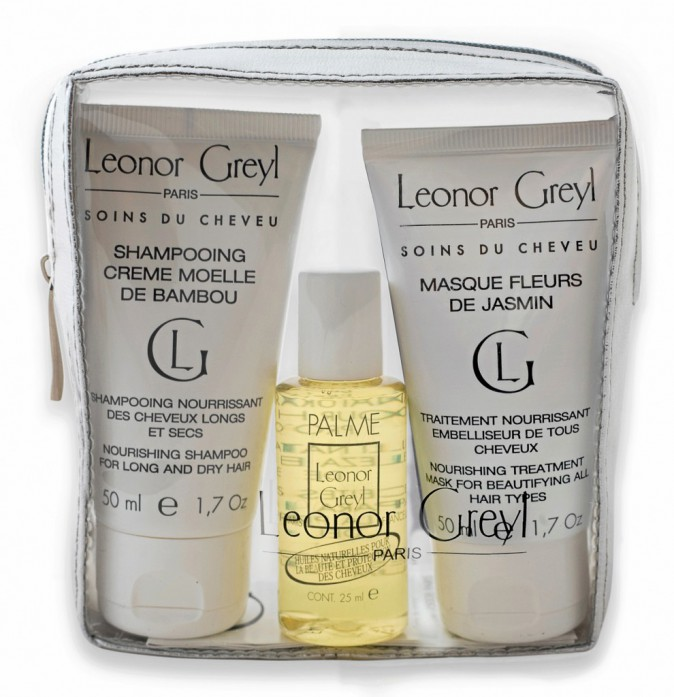Trousse week-end 1 shampooing, 1 masque et 1 huile pour cheveux, Leonor Greyl 26 €
