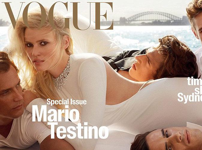Lara Stone : sexy en robe blanche en couverture de Vogue Australie