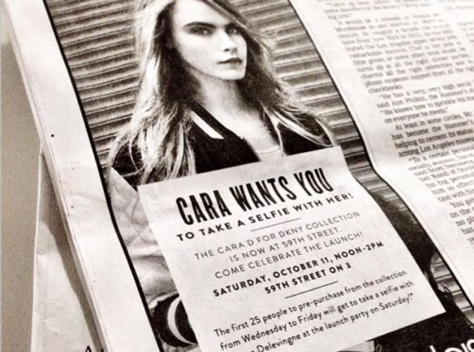Mode : Cara Delevingne invite ses fans à venir prendre des selfies pour fêter sa collection DKNY !