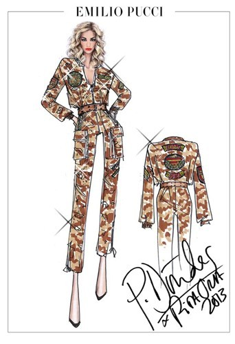 "Tenue d'inspiration militaire Emilio Pucci pour Rita Ora ""The radioactive Tour""."