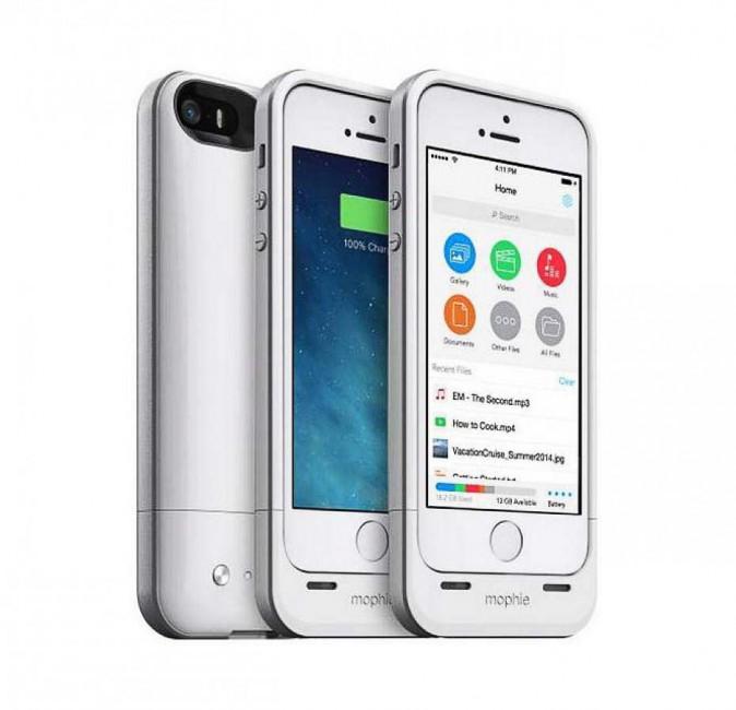 Coque d'iPhone batterie et espace de stockage, mophie.com 100€