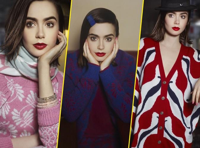 Mode : Lily Collins : elle prend la pose pour la griffe Barrie Knitwear sous l'objectif de Karl Lagerfeld !