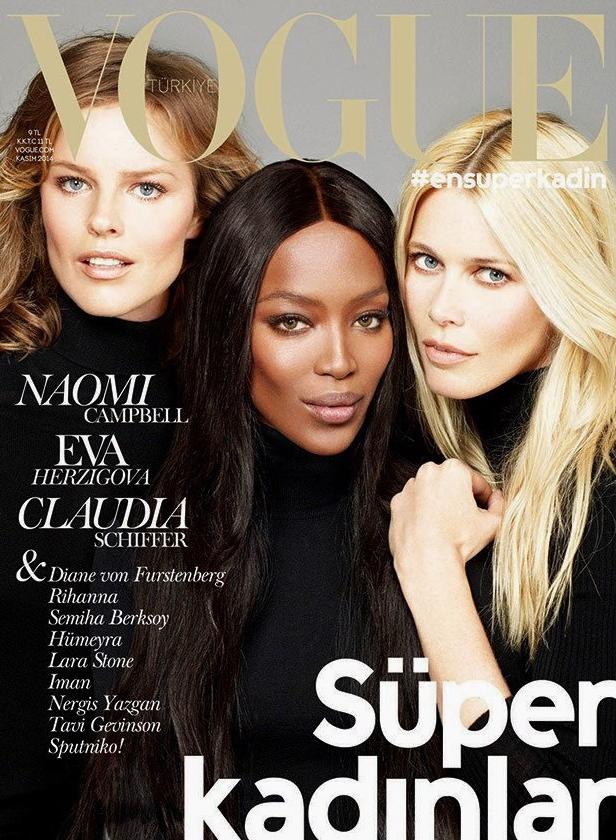 Mode : Naomi Campbell, Eva Herzigova et Claudia Schiffer... Sublimes sur papier glacé pour le Vogue Turquie !