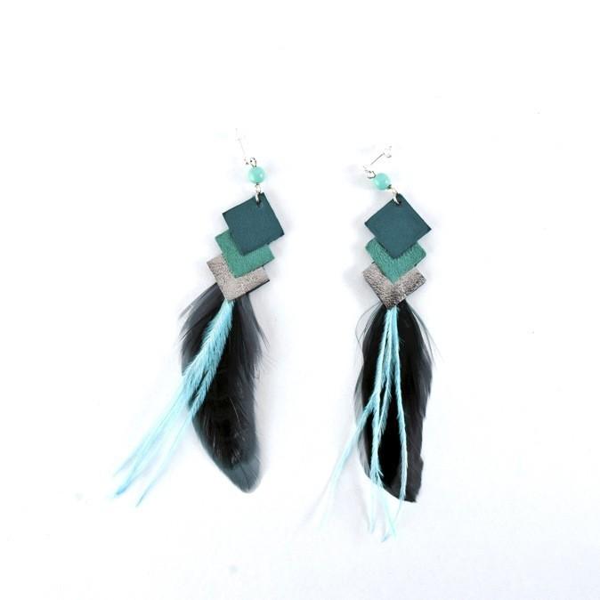 Boucles d'oreilles plumes, Johanna Braitbart. 80 €
