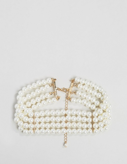 Collection WAH LONDON x ASOS - Collier ras de cou multirang à perles 15,99 €