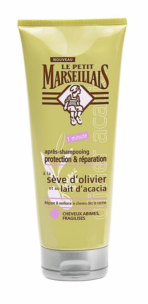 Répare les fibres abîmées Après-shampooing à la sève d'olivier et lait d'acacia, Le Petit Marseillais 2,80 €