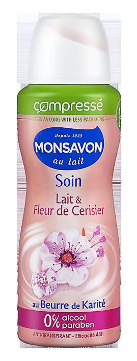 Déodorant compressé, Lait et fleur de cerisier, Monsavon, 2,99€