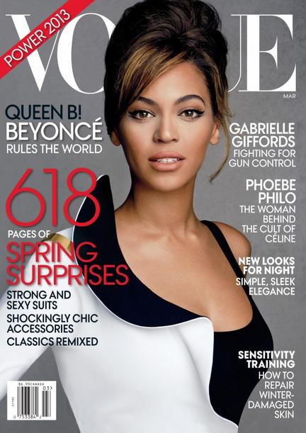 Cover girl de Vogue US en mars 2013