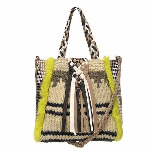 Les sacs tissés en cuir et laine Claramonte. Modèle Mogador. 395 €. sur monshowroom.com