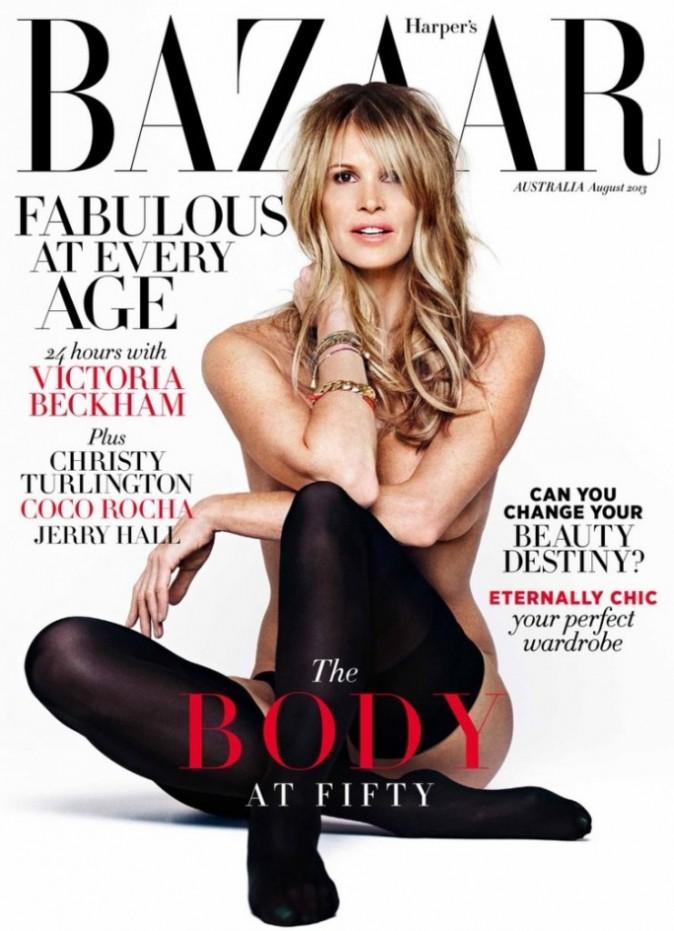 Elle Macpherson : presque dix ans après sa couverture topless pour Playboy, la top australienne se déshabille à nouveau pour Harper's Bazaar !