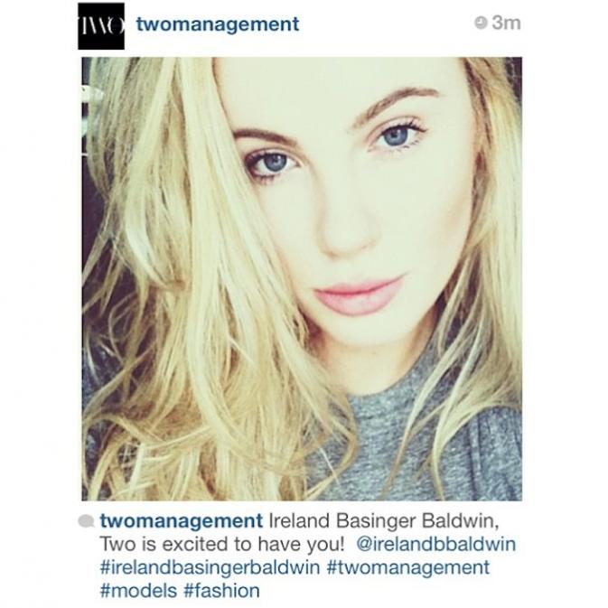 L'agence Two Mangement poste une photo de leur nouvelle mannequin, Ireland Baldwin !